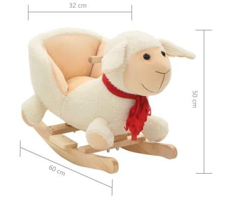 vidaXL Owca na biegunach z oparciem, pluszowa, 60x32x50 cm, biała[5/5]