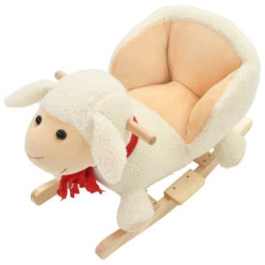 vidaXL Owca na biegunach z oparciem, pluszowa, 60x32x50 cm, biała[4/5]