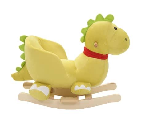 vidaXL Dragon à bascule avec dossier Peluche 60x32x53 cm Vert citron[2/5]