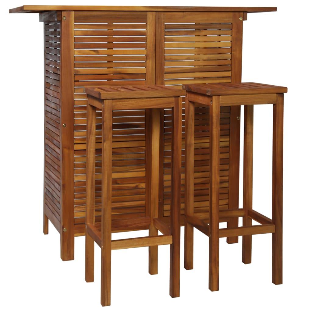 vidaXL Stolik barowy i hokery, 3 elementy, lite drewno akacjowe