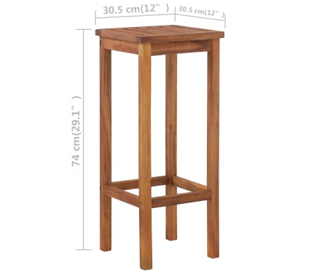 vidaXL 3 Piece Bar Table and Chair Set Solid Acacia Wood[5/5]