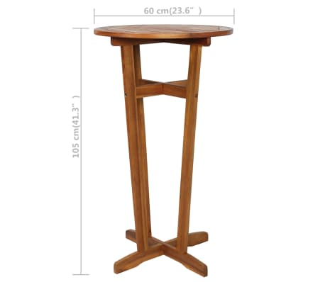 vidaXL Barový stůl z masivního akáciového dřeva 60 x 105 cm[6/6]