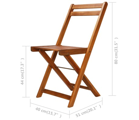 vidaXL Outdoor Bistro Chairs 2 pcs Solid Acacia Wood[9/9]