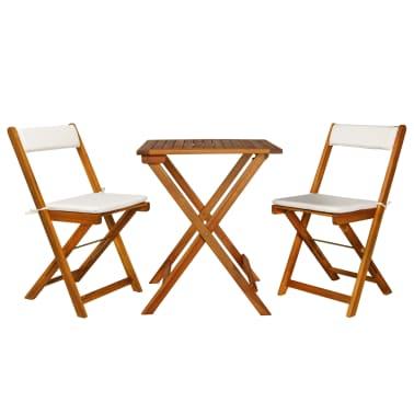 vidaXL Mesa y sillas bistró plegables 3 pzas y cojines madera maciza[1/13]