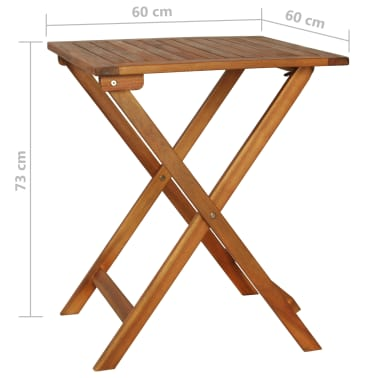 vidaXL Mesa y sillas bistró plegables 3 pzas y cojines madera maciza[13/13]