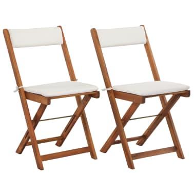 vidaXL Mesa y sillas bistró plegables 3 pzas y cojines madera maciza[5/13]