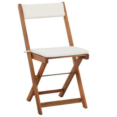 vidaXL Mesa y sillas bistró plegables 3 pzas y cojines madera maciza[6/13]
