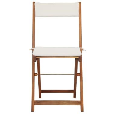 vidaXL Mesa y sillas bistró plegables 3 pzas y cojines madera maciza[7/13]