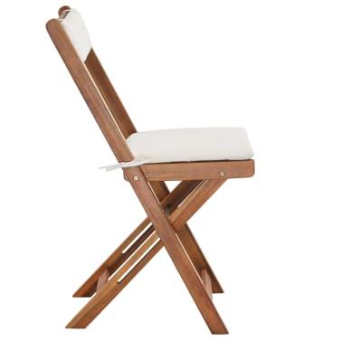 vidaXL Mesa y sillas bistró plegables 3 pzas y cojines madera maciza[8/13]