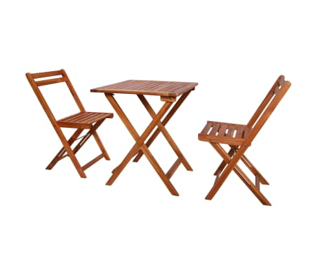 Vidaxl 3 Piece Folding Bistro Set Solid Acacia Wood Vidaxl Com