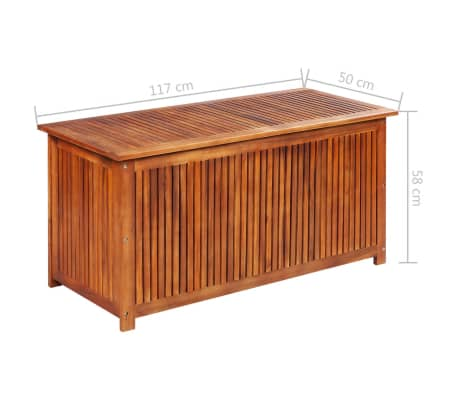 "vidaXL Outdoor Storage Box Solid Acacia Wood 46.1""x19.7""x22.8""[4/4]"