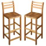 vidaXL Chaise de bar 2 pcs Bois massif d'acacia 42 x 36 x 110 cm
