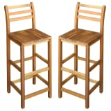"vidaXL Bar Chairs 2 pcs Solid Acacia Wood 16.5""x14.2""x43.3"""