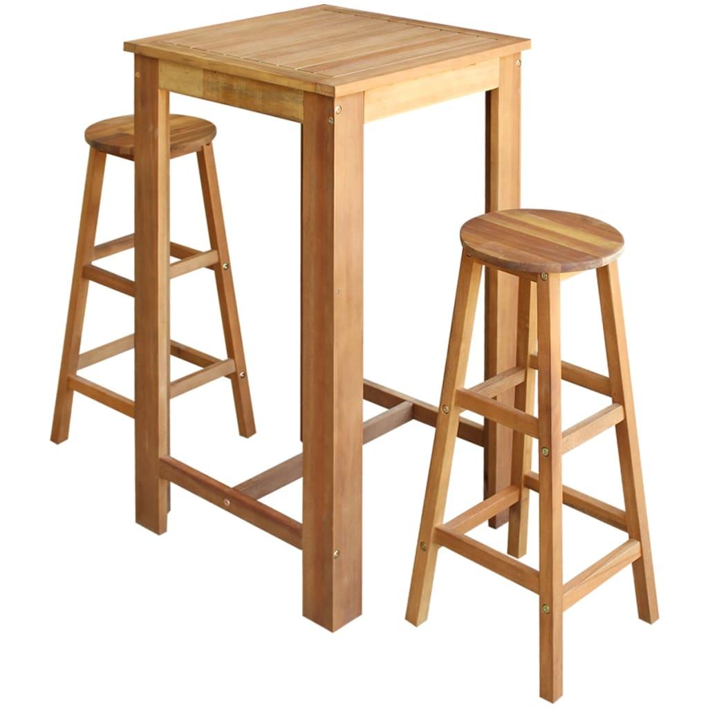 vidaXL Barový stůl a stoličky sada 3 kusů z masivního akáciového dřeva