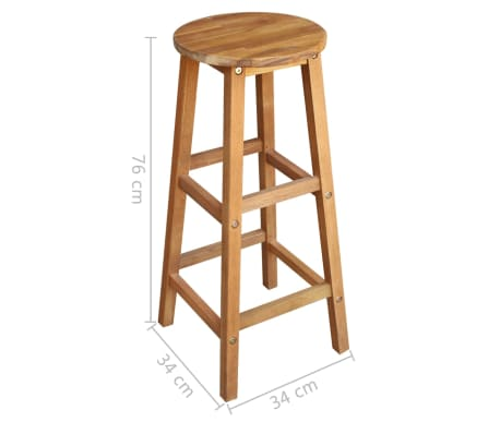 vidaXL Stolik i stołki barowe, 3 elementy, lite drewno akacjowe[6/6]