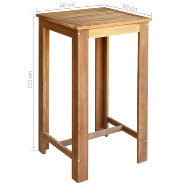vidaXL Stolik i stołki barowe, 3 elementy, lite drewno akacjowe[5/6]