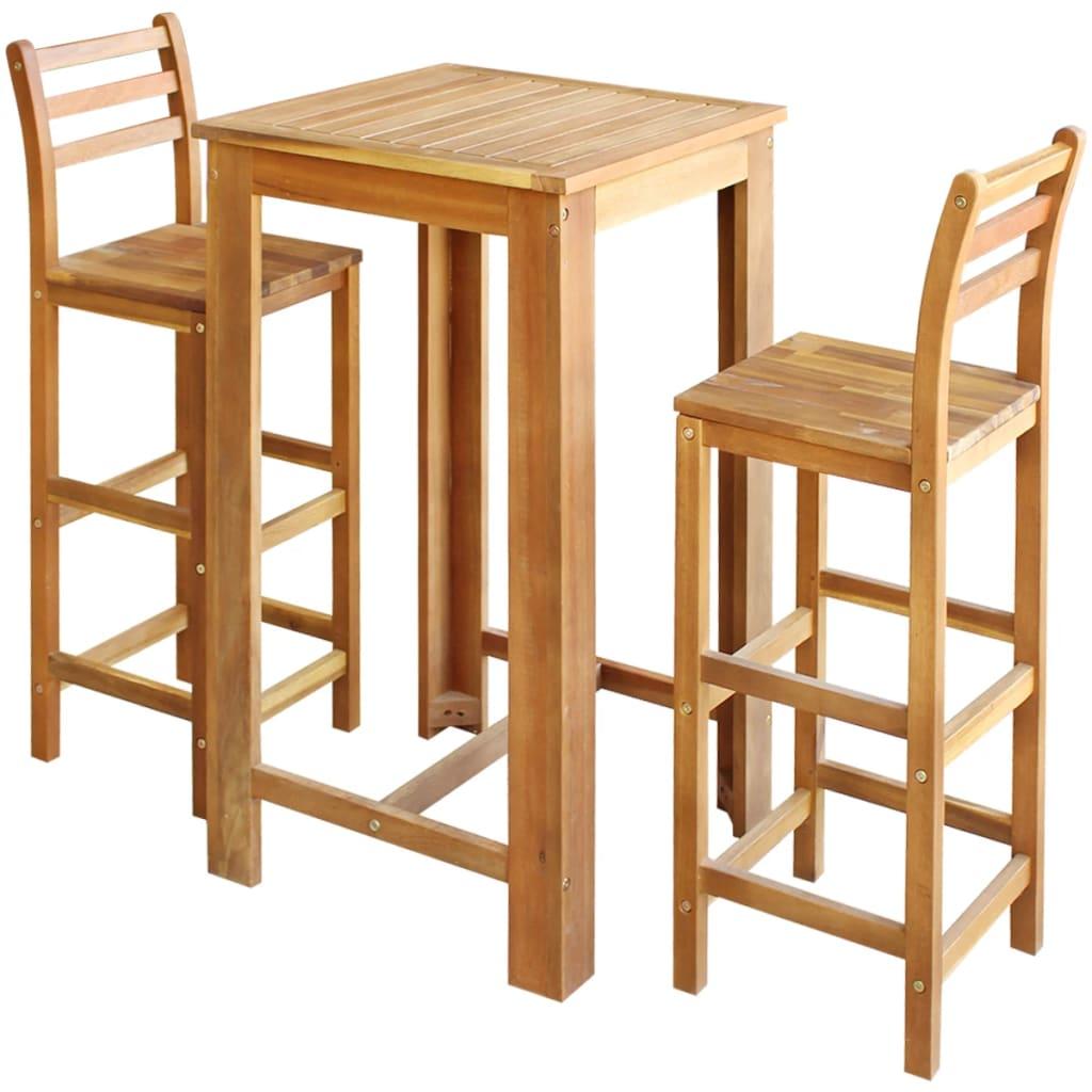 vidaXL Σετ Τραπέζι και Καρέκλες Μπαρ 3 τεμ. από Μασίφ Ξύλο Ακακίας