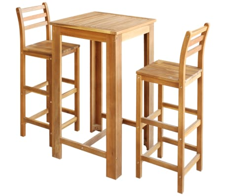 vidaXL Bar Table and Chair Set 3 Pieces Solid Acacia Wood
