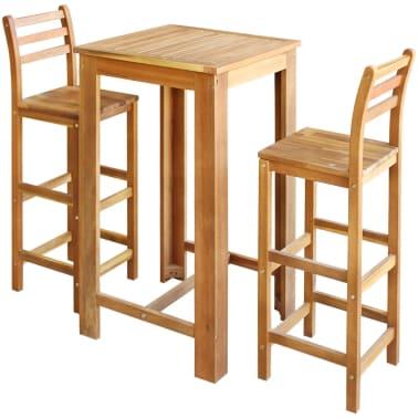 vidaXL Baro stalo ir kėdžių komplektas, 3d., masyvi akacijos mediena[1/6]