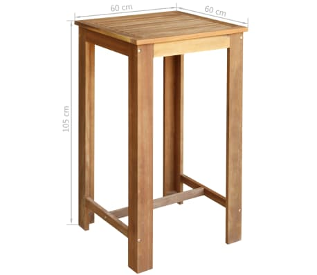 vidaXL Baro stalo ir kėdžių komplektas, 3d., masyvi akacijos mediena[5/6]