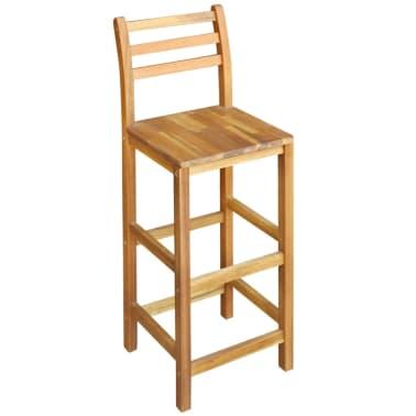 vidaXL Baro stalo ir kėdžių komplektas, 3d., masyvi akacijos mediena[3/6]