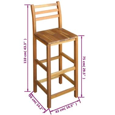 vidaXL Baro stalo ir kėdžių komplektas, 3d., masyvi akacijos mediena[6/6]