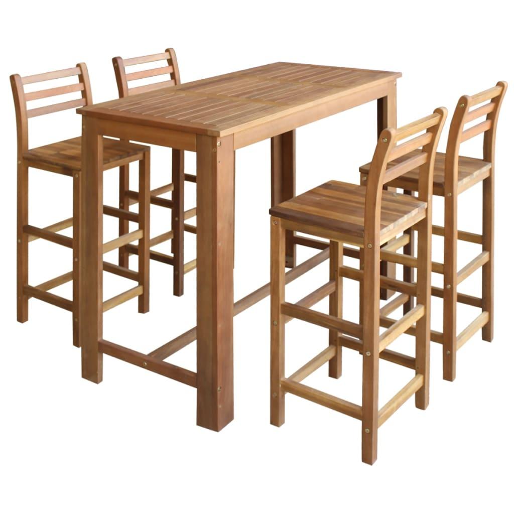 vidaXL Σετ Τραπέζι και Καρέκλες Μπαρ 5 τεμ. από Μασίφ Ξύλο Ακακίας