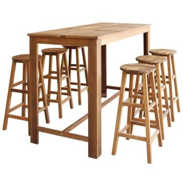 vidaXL Barový stůl a stoličky z masivního akáciového dřeva sada 7 ks[1/6]