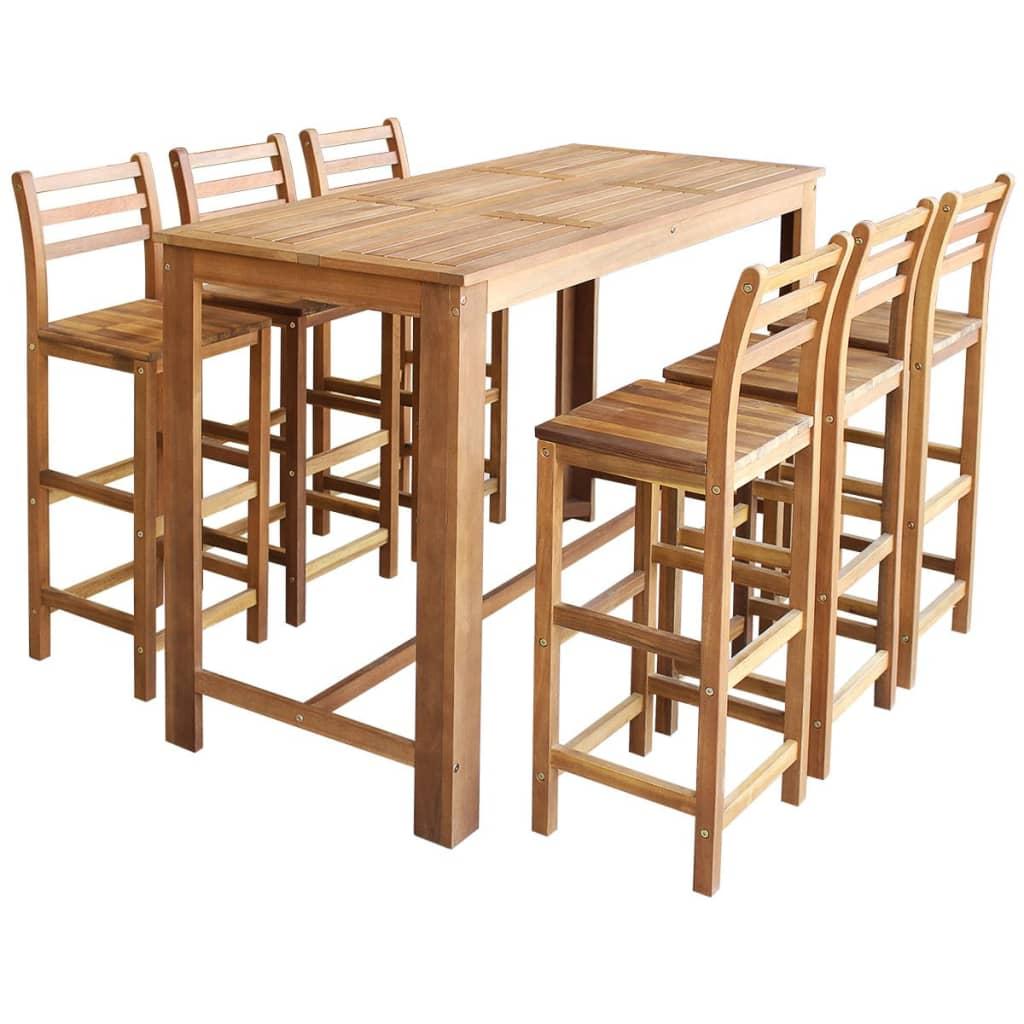 vidaXL Σετ Τραπέζι και Καρέκλες Μπαρ 7 τεμ. από Μασίφ Ξύλο Ακακίας