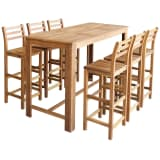 vidaXL Bar Table and Chair Set 7 Pieces Solid Acacia Wood