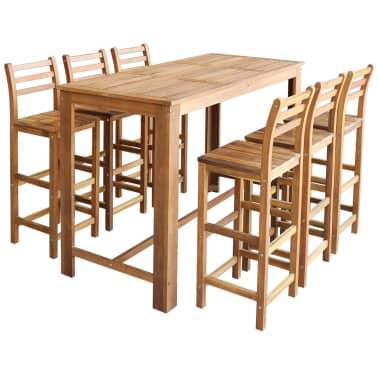 vidaXL Baro stalo ir kėdžių kompl., 7d., masyvi akacijos mediena[1/6]
