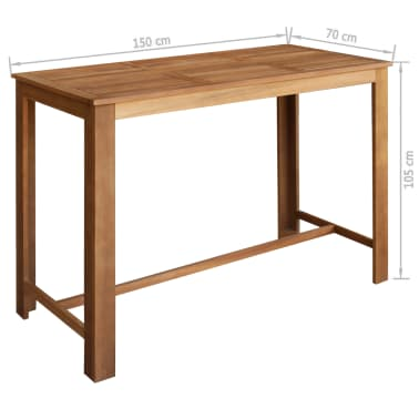 vidaXL Baro stalo ir kėdžių kompl., 7d., masyvi akacijos mediena[5/6]