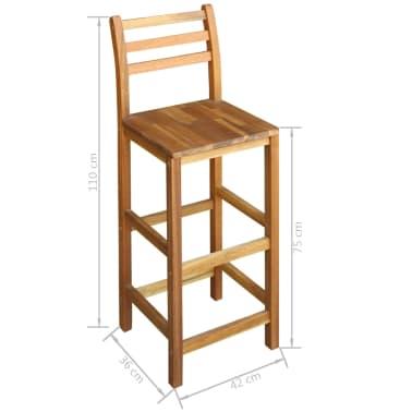 vidaXL Baro stalo ir kėdžių kompl., 7d., masyvi akacijos mediena[6/6]