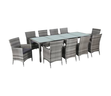 vidaXL 11 Piece Outdoor Dining Set with Cushions Poly Rattan Gray[1/7]