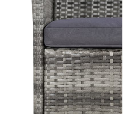 vidaXL 11 Piece Outdoor Dining Set with Cushions Poly Rattan Gray[4/7]