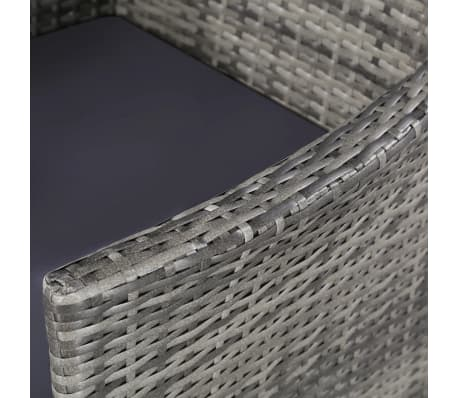 vidaXL 11 Piece Outdoor Dining Set with Cushions Poly Rattan Gray[5/7]