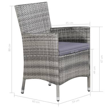 vidaXL 11 Piece Outdoor Dining Set with Cushions Poly Rattan Gray[7/7]