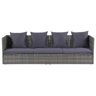 vidaXL Garten-Sofabett Poly Rattan 200 x 60 x 58 cm Grau[2/5]