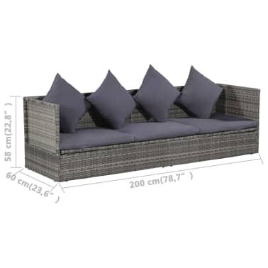 vidaXL Garten-Sofabett Poly Rattan 200 x 60 x 58 cm Grau[5/5]