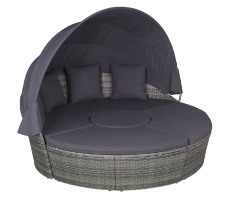 vidaXL 4 Piece Outdoor Lounge Set with Cushions Poly Rattan Grey