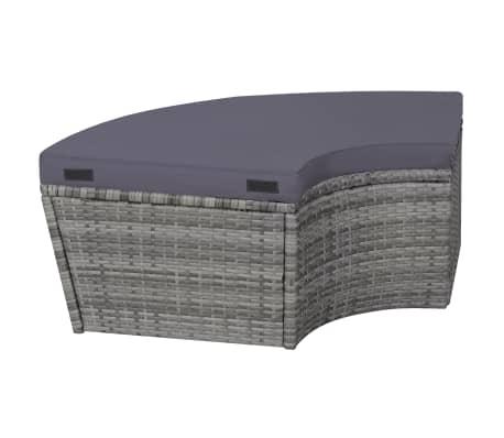 vidaXL 4-dijelna vrtna garnitura s jastucima i LED svjetlom od poliratana siva[6/10]