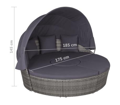 vidaXL 4-dijelna vrtna garnitura s jastucima i LED svjetlom od poliratana siva[9/10]