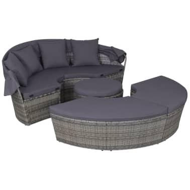 vidaXL 4-dijelna vrtna garnitura s jastucima i LED svjetlom od poliratana siva[3/10]