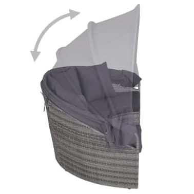 vidaXL 4-dijelna vrtna garnitura s jastucima i LED svjetlom od poliratana siva[8/10]
