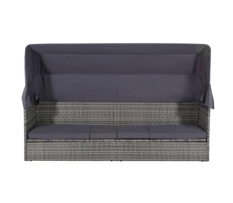 vidaXL dārza gulta ar jumtiņu, pelēka, 205x62 cm, PE rotangpalma[5/8]