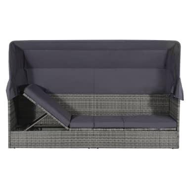 vidaXL dārza gulta ar jumtiņu, pelēka, 205x62 cm, PE rotangpalma[2/8]