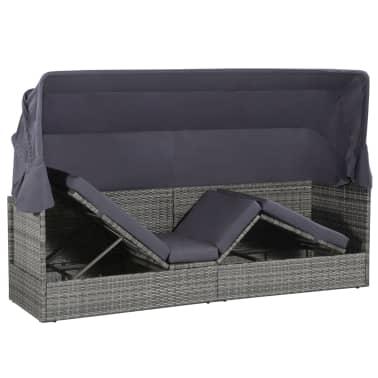 vidaXL dārza gulta ar jumtiņu, pelēka, 205x62 cm, PE rotangpalma[4/8]