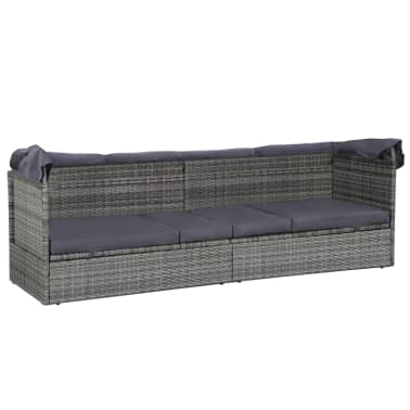 vidaXL dārza gulta ar jumtiņu, pelēka, 205x62 cm, PE rotangpalma[7/8]