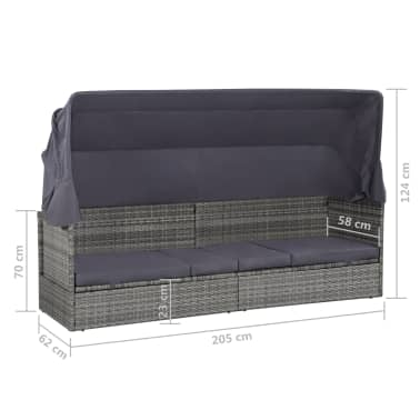vidaXL dārza gulta ar jumtiņu, pelēka, 205x62 cm, PE rotangpalma[8/8]