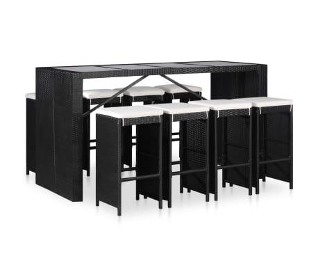 vidaXL Conjunto de muebles de jardín 9 piezas ratán sintético negro-picture
